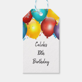 Colorful Balloons & Confetti Birthday Party Favor Gift Tags