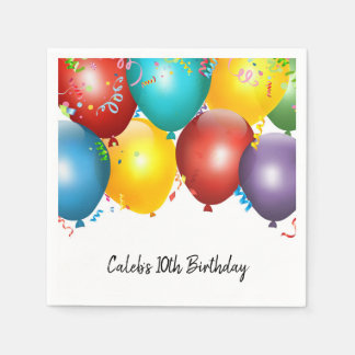 Colorful Balloons & Confetti Birthday Party Paper Napkins