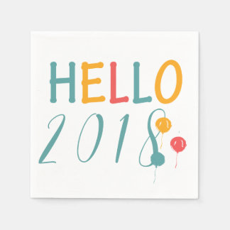 Colorful balloons New Year party hello 2018 Napkin