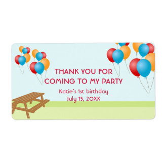 Colorful balloons outdoor picnic party favor label shipping label