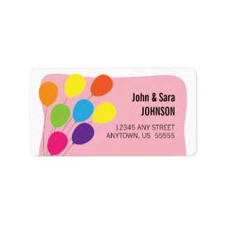 Colorful Balloons Pink Background Label