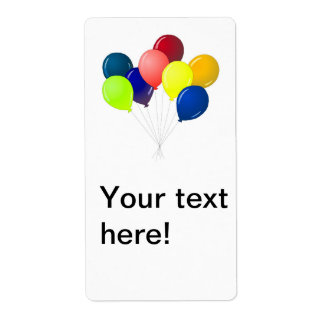 Colorful balloons shipping label