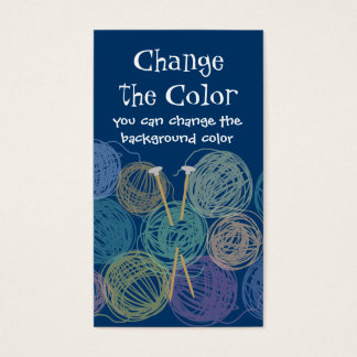 Colorful balls of yarn knitting needles biz cards