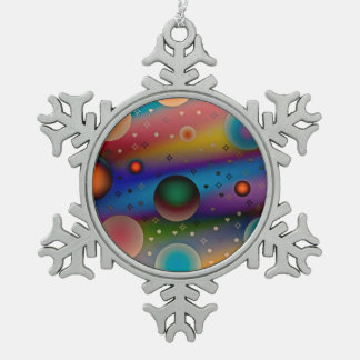 Colorful balls♥ snowflake pewter christmas ornament
