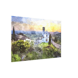 Colorful Basilica San Francesco Aquarelle Painting Canvas Print