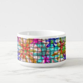colorful basket weave chili bowl