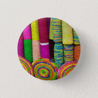 Colorful Baskets At Market 1 Inch Round Button
