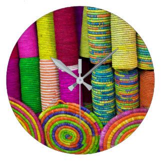 Colorful Baskets At Market Large Clock