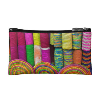 Colorful Baskets At Market Makeup Bag