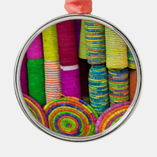 Colorful Baskets At Market Metal Ornament