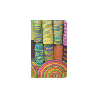Colorful Baskets At Market Pocket Moleskine Notebook
