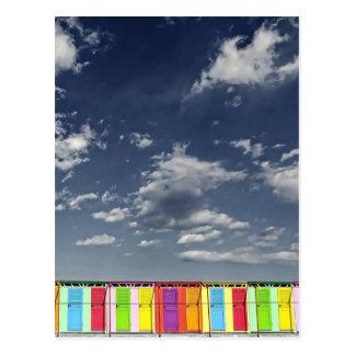 Colorful bathing huts postcard