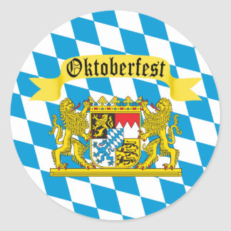 Colorful Bavarian Flag Oktoberfest Round Sticker
