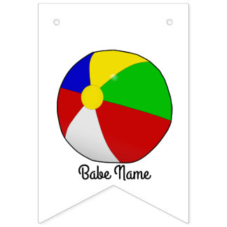 Colorful beach ball bunting flags