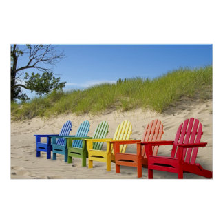 Colorful Beach Chairs Poster