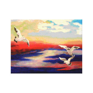 Colorful Beach Seagulls Canvas Painting