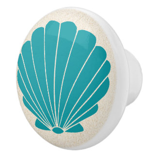 Colorful Beach Shell Scallop Drawer Knobs