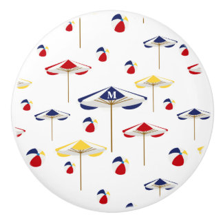 Colorful Beach Umbrella and Beach Ball Custom Ceramic Knob