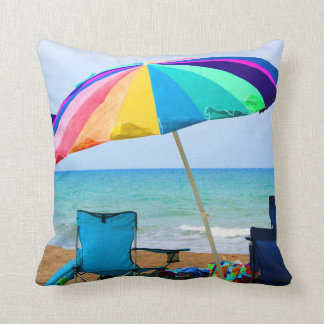 Colorful beach umbrella and chairs in Florida Throw Pillow
