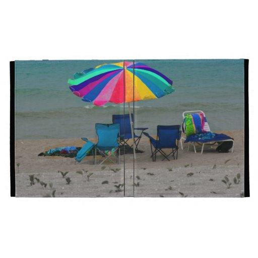 colorful beach umbrella chairs Florida scene iPad Case