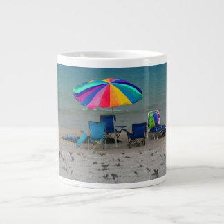 colorful beach umbrella chairs Florida scene Large Coffee Mug