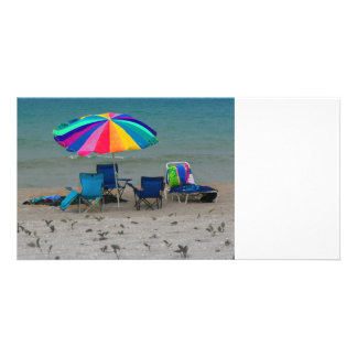 colorful beach umbrella chairs Florida scene Photo Cards