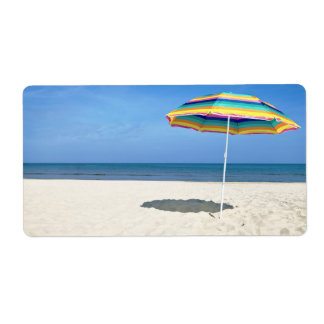Colorful Beach Umbrella On The Sandy Beach Shipping Label