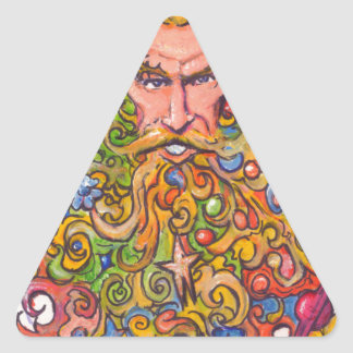 Colorful Beard Guy Triangle Sticker