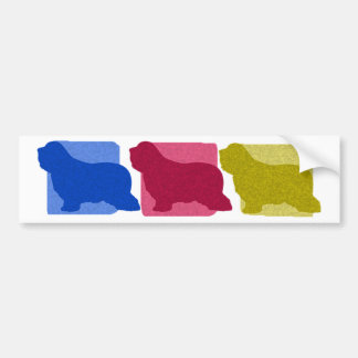Colorful Bearded Collie Silhouettes Bumper Sticker