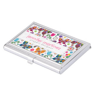 Colorful Beautiful Butterflies And Flowers Pattern Business Card Holder