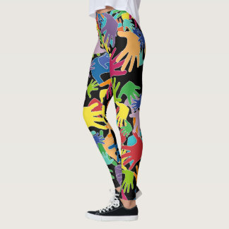 Colorful beautiful cartoon hands all over leggings