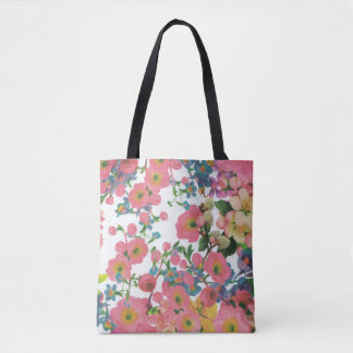 colorful beautiful flower tote bag