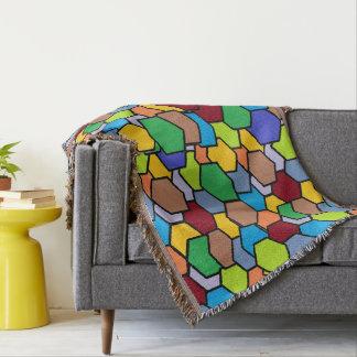 Colorful Beehive Hexagon Pattern Throw Blanket
