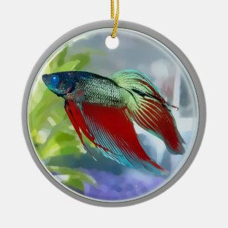 Colorful Betta Fish in a Bubble Round Ceramic Ornament