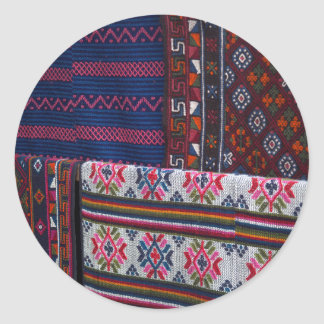 Colorful Bhutan Textiles Classic Round Sticker