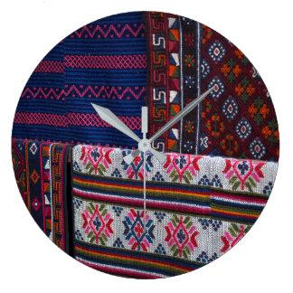 Colorful Bhutan Textiles Large Clock
