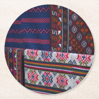 Colorful Bhutan Textiles Round Paper Coaster