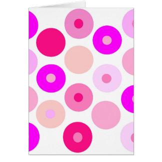 colorful big and small pink polka dots card