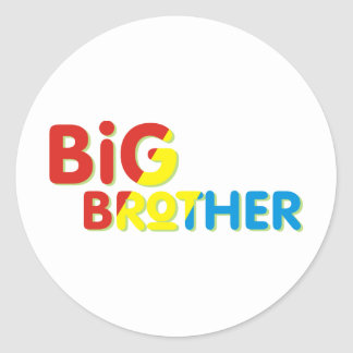 Colorful Big Brother Shirt Round Sticker