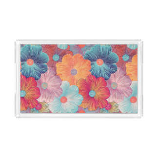 Colorful big flowers artistic floral background acrylic tray