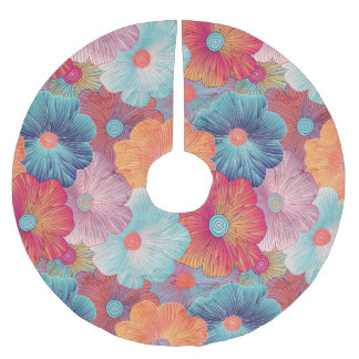 Colorful big flowers artistic floral background brushed polyester tree skirt