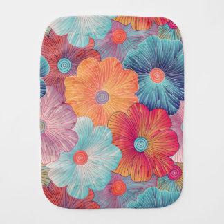 Colorful big flowers artistic floral background burp cloths