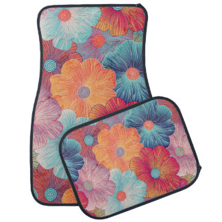 Colorful big flowers artistic floral background car mat