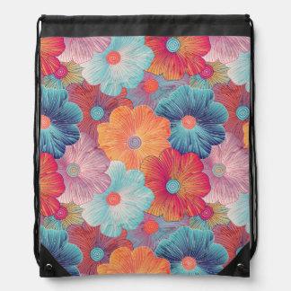 Colorful big flowers artistic floral background drawstring bag