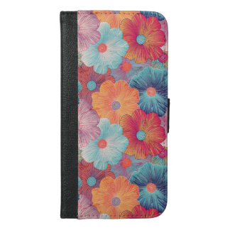 Colorful big flowers artistic floral background iPhone 6/6s plus wallet case