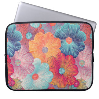 Colorful big flowers artistic floral background laptop sleeve