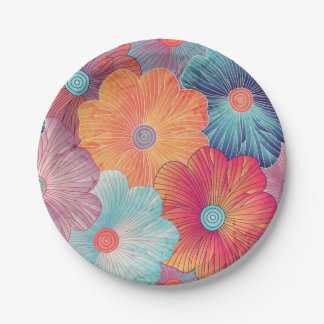 Colorful big flowers artistic floral background paper plate
