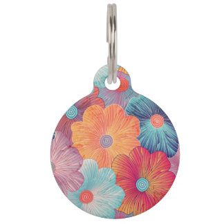 Colorful big flowers artistic floral background pet tag