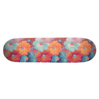 Colorful big flowers artistic floral background skateboard deck