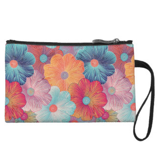 Colorful big flowers artistic floral background wristlet